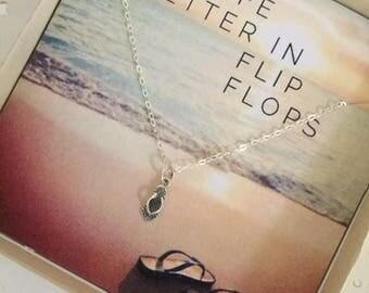 Flip Flop Necklace | Wanderlust | Sandal Necklace | Silver Flip Flop Charm | Silver Travel Necklace | Vacation Necklace | Grad Gift