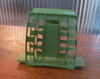 Vintage 60's Mid-Century Mod Avocado Green Plastic Geometric Napkin Holder - 60's Kitchen - Serving - 60's Dining