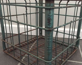 Vintage Metal Wire Green Beatrice ILL Milk Crate / Box