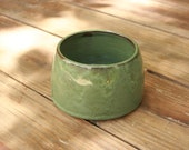 Pottery Spaniel Bowl Long Earred Dog Dish Rustic Green Glaze NC Pottery