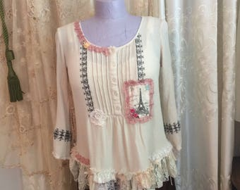 Indian Gauze Top, cool comfortable cotton, boho hippie blouse, woodstock gypsy,roomy flows, lightweight gauzy, crinkled,