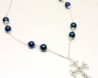 Deep Peacock Blue Pearl and Chain Necklace with Cross Pendant - Reserved for Grace
