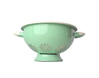 Vintage Enamel Colander, Mint Green French Colander