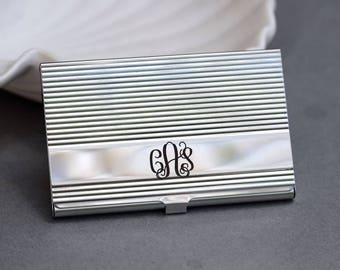 Personalized Business Card Holder, High Polish Silver Ornate Business Card Case , Credit Card Holder, Engraved Card Case,Father's Day