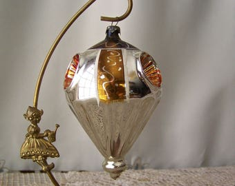 Vintage Christmas Glass Ornament Large Three Jeweled Paneled Ornament Gold and Silver Reflectors Ornament Christmas Tree Vintage 1920s