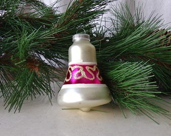 Vintage Christmas Ornament Glass Bell Shaped Ornament Silver Pink Mica Glitter West Germany 1960s Holiday Decor