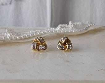 Vintage 10K Gold Diamond Post Earrings Gold Knotted Ribbon Earrings 1980s