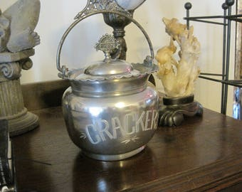 Antique Silver-plated Cracker Jar
