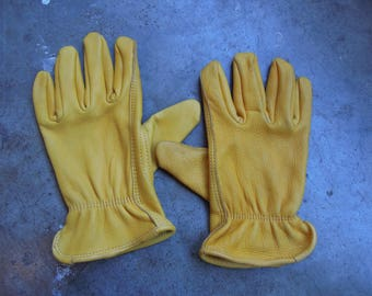Vtg  Yellow Leather Work Gloves Size M L XL