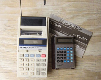 Set of Two Vintage Calculators 80's Office Supplies Vintage Electronics