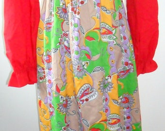 1970s Vintage Maxi Dress. Boho Red and Psychedelic Print