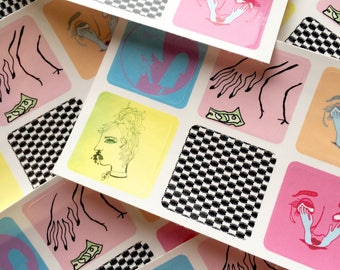 Art Sticker Sheet 〰 Six Cute Neon Stickers  〰  Designed and Illustrated by Sam Pletcher 〰 High Quality Water Resistant Sticker Sheet