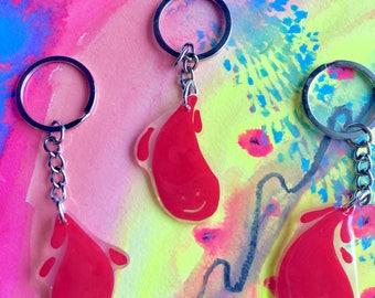 Cute Blood Drop Plastic Keychain 〰 Shrink Film (Polymer Plastic) Keychains 〰 Lightweight Colorful Handmade Keychains
