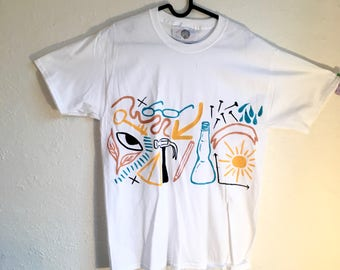 Painted White T-Shirt by Sam Pletcher 〰 Hand Painted One of a Kind Adult Medium Shirt 〰 Black, Metallic Orange, Turquoise and Yellow