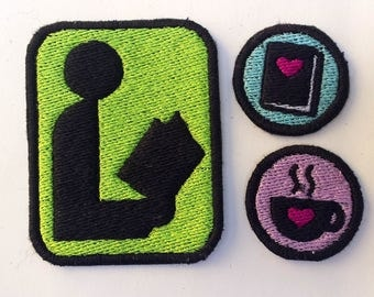 Library Book & Coffee Lover's Patch Lot of 3