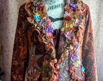Altered couture jacket size xl bohemian jacket  romantic fairy victorian schabby chic jacket art to wear wearable art jacket