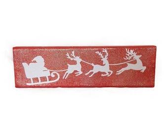 Santa in Sleigh with Reindeer Christmas Decor Block Sign