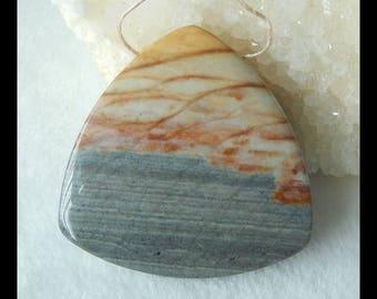 Wave Jasper Gemstone Pendant Bead,Triangle Pendant,45x9mm,27.5g(f0094)