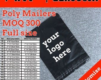 300 poly mailers 9x12, customize logo poly mailers bag,  shipping bag, polymailers, courier bag, Shipping Envelopes, Mailing Envelopes
