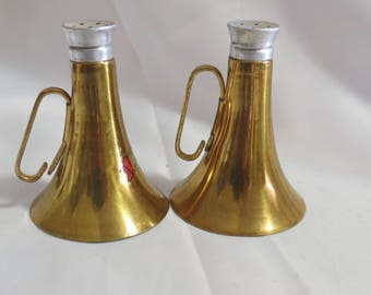 Vintage Brass and Glass Instrument Horn Salt and Pepper Shakers