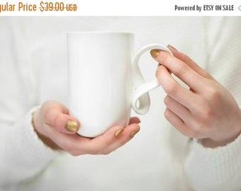 SALE Ceramic Mug porcelain Mobius big mug white excellent gift, handmade porcelain