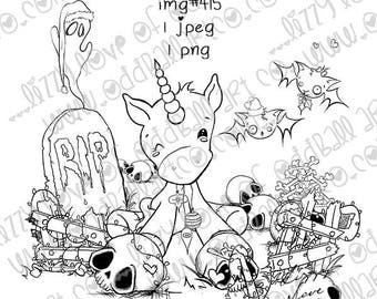 Digital Stamp Instant Download Cute Whimsical Holiday Graveyard  ~ Too Cute To Creep Image No. 415 by Lizzy Love