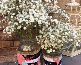 Mason Jar Wrap, Stripe, Black & White, Floral, Mason Jar Decoration, Baby Shower, Party, Wedding Decoration