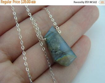 Rough Flash Labradorite Sterling Sliver Necklace