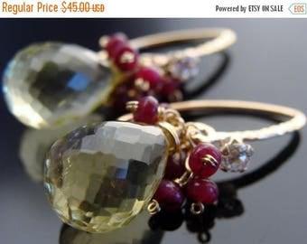 Lemon Quartz and Ruby 14 K Gold Filled Earrings