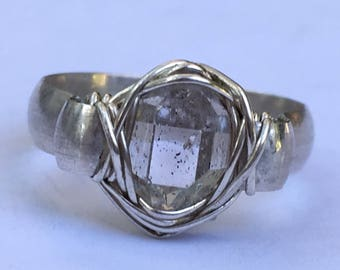 Herkimer Diamond Gemstone in Silver Wrapped Ring, sz. 7.5