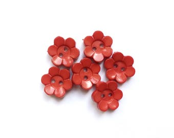 11 Red Flowers Shaped Plastic Buttons