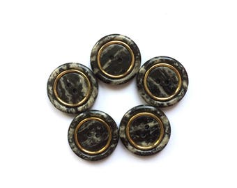 5 Marbled Black & Gold Buttons, 27mm
