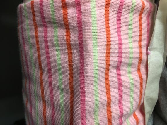 "Pink  1/4"" Jersey Lycra Multi-Stripe Knit (by the yard)"