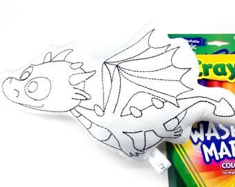 Colour Me Dragon with Washable Markers Decorate Your Own Plush Toy