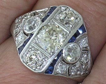 DECO DIAMOND RING~Art Deco Diamond Ring with Sapphire Accents, Circa 1915