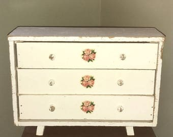 Vintage Shabby Chippy Wooden Dresser White Roses Wood Doll Storage Footed Chest Furniture American Girl Jewelry Box Cabinet Drawers Decals