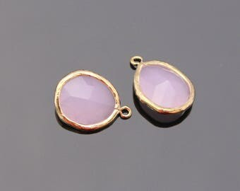 Jewelry Making Supplies, Gold Ice Pink Pendant, Light Pink Glass Stone connector,  Gemstone Bead Pendant, 2 pc, JW8227
