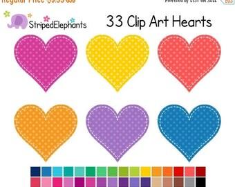 40% OFF SALE Stitched Heart Clip Art Polka Dot 1 - Digital Clip Art - Instant Download - Commercial Use