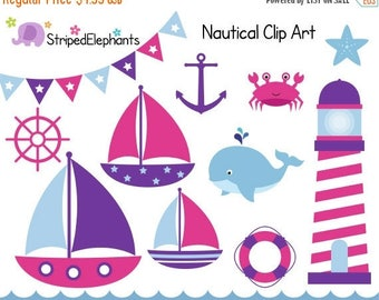 40% OFF SALE Nautical Clip Art - Sail Boat Clipart - Pink and Purple - Digital Clipart - Instant Download - Commercial Use