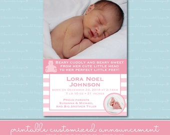 Beary Sweet Birth Announcement