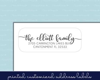 Handlettered Adhesive Return Address Labels, Calligraphy, Script, Handwritten