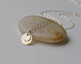 Gold Disc Necklace, Sun & Moon Necklace, Delicate Minimal Necklace, Layering Necklace, Everyday Necklace, 14k Gold Fill, Sterling Silver