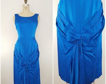 20% OFF SALE Vintage 1950s Satin Cocktail Dress / Sapphire Blue / Small