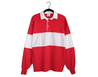 Vintage King Louie Creation Red & White Stripe Rugby Style 50/50 Poly-Cotton Blend Long Sleeve Collared Shirt, Made in USA - Large