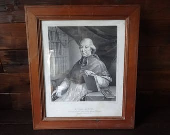 Antique French Print Mr l'abbe Boudot Vicaire General Paris Catholic Religious circa 1850's / English Shop