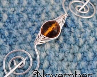November Topaz Birthstone Shawl Pin