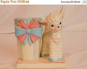 Birthday Sale Vintage Curly Lamb Baby Planter, Easter Planter, Ceramic Plant Holder