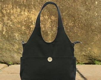 On Sale 20% off Black canvas tote bag, diaper bag, hand bag, shoulder bag, canvas messenger bag