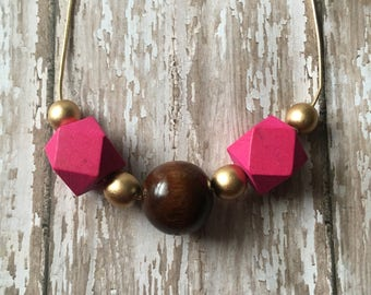 Pink and brown beaded necklace