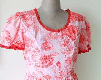 1960s Vintage GARDEN PARTY Ruffled Day Dress..size small to medium..red. pink. mod. novelty print. floral. retro. designer vintage